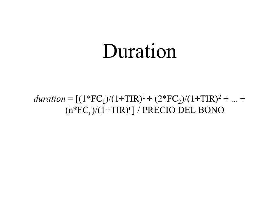 Duration duration = [(1*FC1)/(1+TIR)1 + (2*FC2)/(1+TIR)2 + ... + (n*FCn)/(1+TIR)n] / PRECIO DEL BONO.